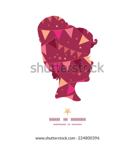 Vector christmas decorations flags girl portrait silhouette pattern frame - stock vector