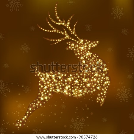 Vector christmas deer - stock vector