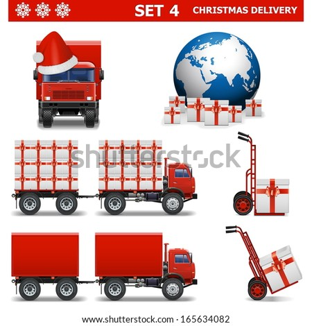 Vector Christmas Delivery Set 4 - stock vector