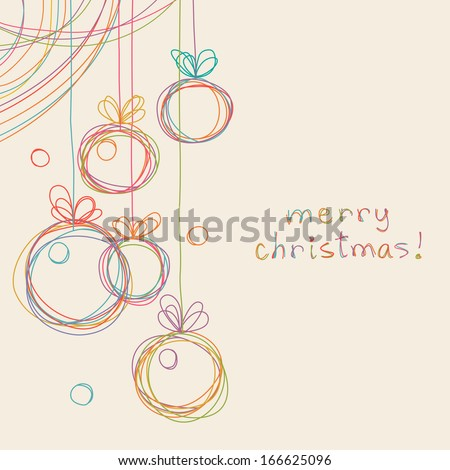 Vector christmas doodle background. Cute christmas balls in hand drawn childish sketch style. Invitation and greeting decorative card. Abstract simple winter holiday linear illustration with text box - stock vector