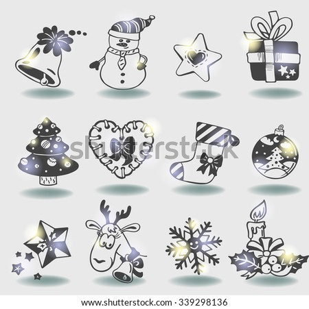 Vector Christmas doodle icons for decor or stickers - stock vector