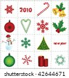 vector christmas elements and icons background - stock vector