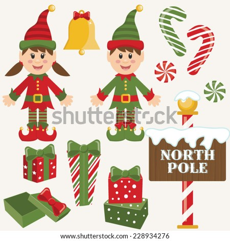 Vector Christmas Elves and Elements - stock vector