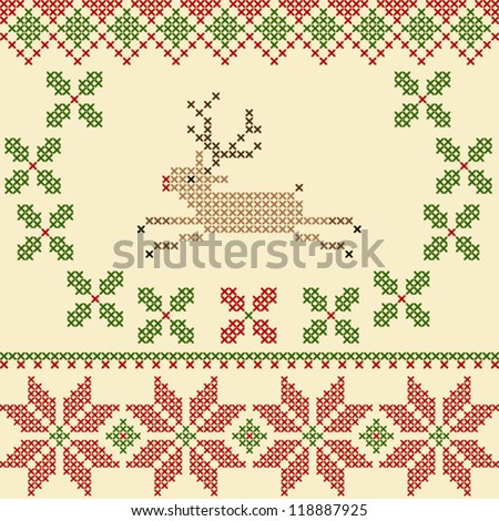 Vector Christmas Embroidery Crossstitch Style Can Stock Vector