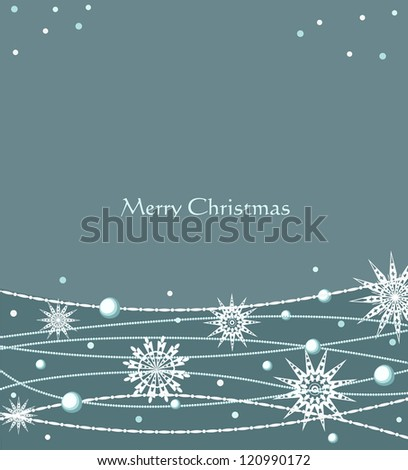 Vector Christmas festive background with snowflakes - stock vector