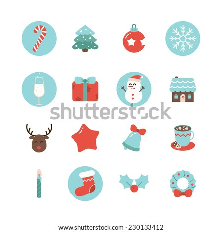 Vector Christmas flat color icon set