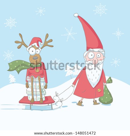 Vector Christmas funny illustration of Santa Claus with reindeer. EPS 10. No transparency. No gradients. - stock vector