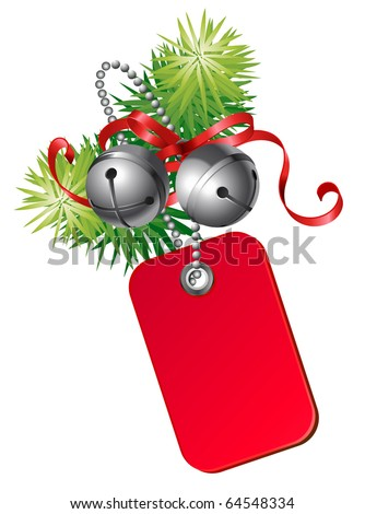 vector christmas gift card decorated with jingle bells - stock vector