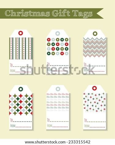 Vector Christmas gift tags - stock vector