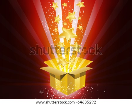 Vector - Christmas Golden Gift Box with Stars - stock vector