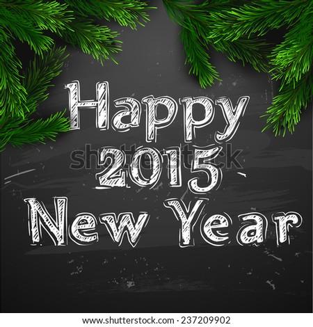 Vector Christmas Greeting Card. Chalk drawn Happy new year - stock vector