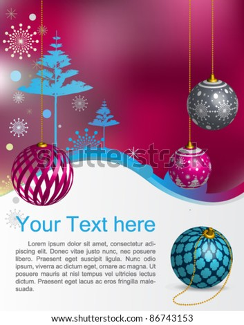 Vector Christmas greeting card : elegant Christmas background with evening baubles - stock vector