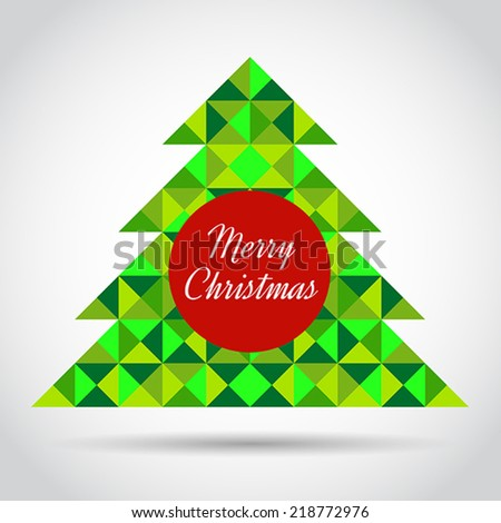 Vector Christmas greeting card with abstract geometric tree