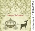 vector Christmas  Greeting Card with Deer and Vintage Carriage, seamless patterns included in swatch menu, fully editable eps 8 file - stock vector