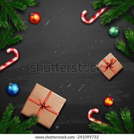 Vector Christmas Greeting Card with gift box. Happy new year xmas - stock vector