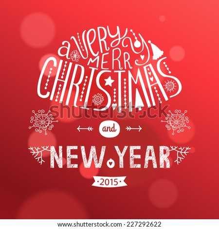 Vector christmas greeting card new year stock vector 227292622 vector christmas greeting card with new year lettering illustration on red background 2015 eps10 m4hsunfo