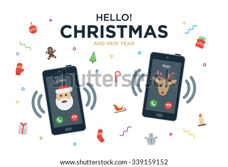 Vector Christmas Greeting Card with phone call from Santa Claus and Reindeer - stock vector