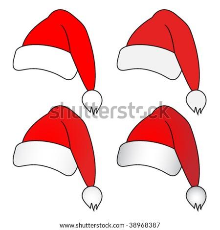 vector christmas hats - stock vector