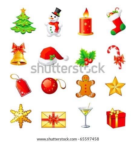 Vector Christmas icon. Set 1. - stock vector