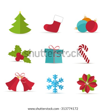 Vector Christmas icons on a white background - stock vector