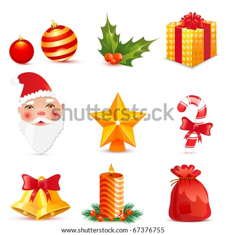 Vector christmas icons: shadows in separate layer - stock vector