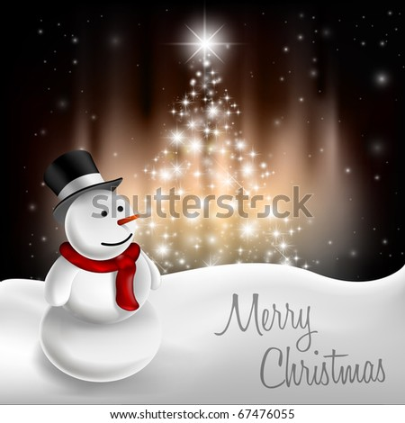 Vector Christmas Illustration Of Happy Snowman - stock vector