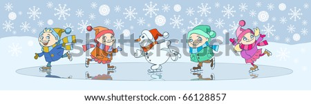 Vector christmas illustration of little children playing outdoors in the snow, circling on the icerink in a company of snowman - stock vector