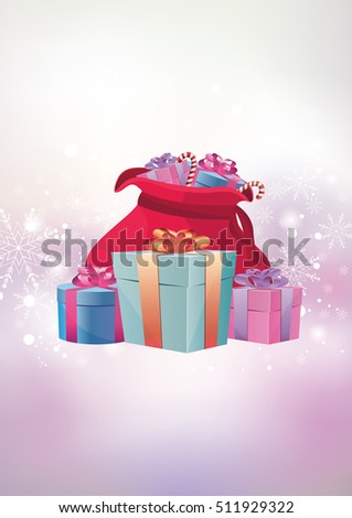 Vector Christmas illustration of magic winter background and bag with gifts
