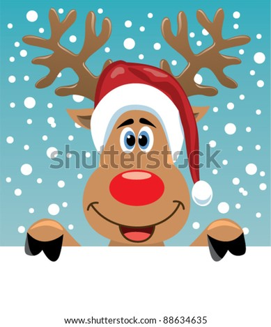 vector christmas illustration of reindeer holding blank paper for your text - stock vector