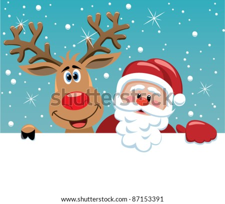 vector christmas illustration of santa claus and red nosed reindeer - stock vector