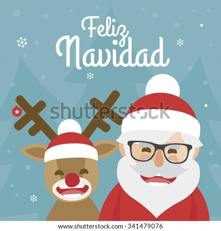 vector christmas illustration of santa claus and red nosed reindeer on blue background. merry christmas written in Spanish - stock vector