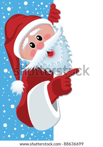 vector christmas illustration of santa claus holding blank paper for your text - stock vector