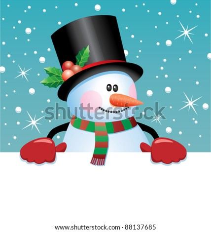 vector christmas illustration of snowman holding blank paper for your text
