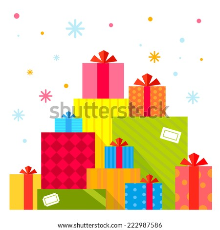 Vector Christmas illustration of the piles of presents on white background with colorful snowflakes. Color bright flat design for card, banner, poster, advertising, blog  - stock vector