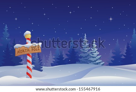 Vector Christmas illustration with a North Pole sign - stock vector