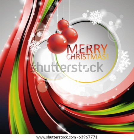 Vector Christmas illustration with red glass balls on text space - stock vector