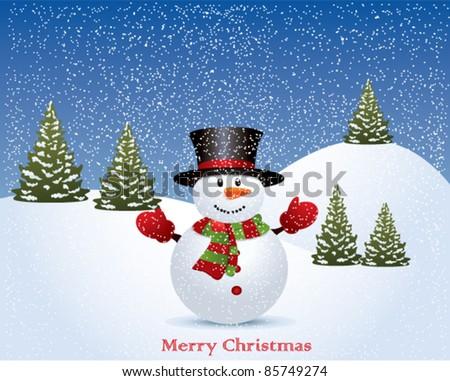 Vector christmas illustration with snowman - stock vector
