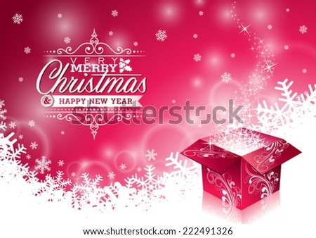 Vector Christmas illustration with typographic design and shiny magic gift box on snowflakes background. EPS 10 illustration. - stock vector
