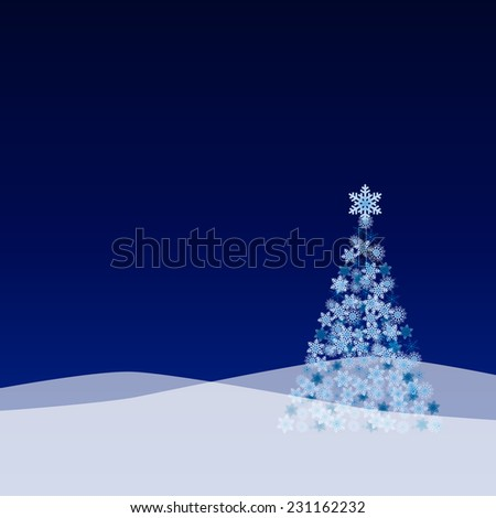 Vector Christmas landscape with tree from snow flakes - stock vector