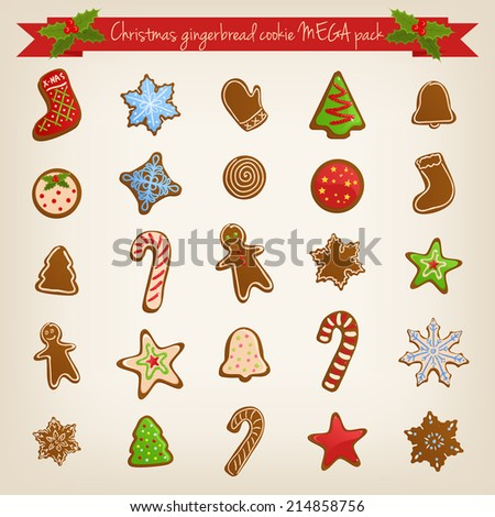 Vector Christmas mega set of cute gingerbread cookies - stock vector