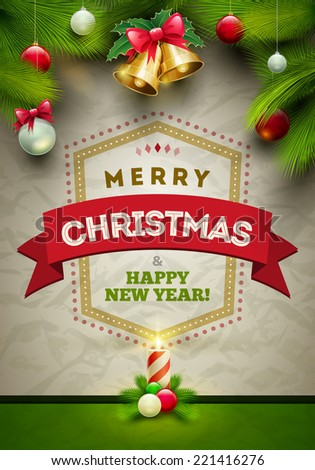 Vector Christmas Messages and objects on wrinkled paper background. Elements are layered separately in vector file. - stock vector