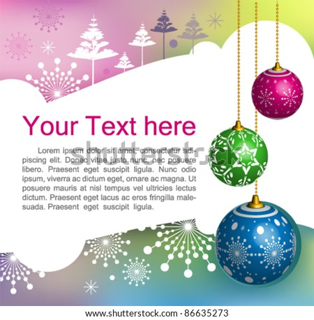 Vector Christmas & New-Year's greeting card : elegant Christmas background with evening baubles