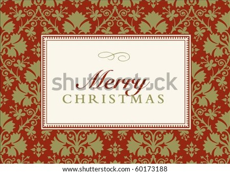 Vector Christmas or holiday frame. Perfect as Holiday invitation or announcement.  Pattern is included as seamless swatch. All pieces are separate. - stock vector