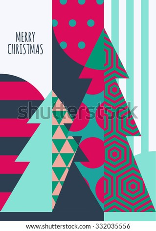 Vector Christmas or New Year greeting card template. Decorated fir tree with geometric pattern, abstract holiday background. Trendy concept for party invitation, flyer, banner, poster design. - stock vector