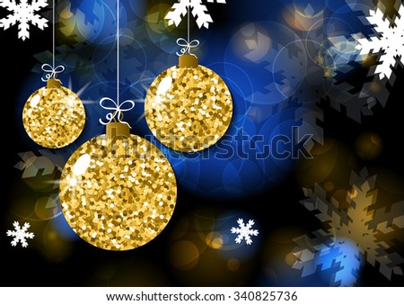 Vector Christmas or New Year greeting card template. Golden christmas balls on black blurred background. Abstract holiday illustration. Snowing background. Holiday decoration, toys and baubles. - stock vector