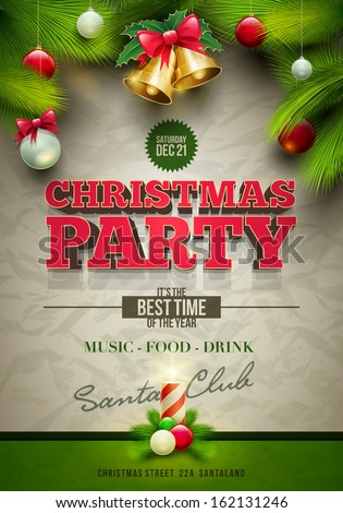 Vector Christmas Party design template. Elements are layered separately in vector file. - stock vector