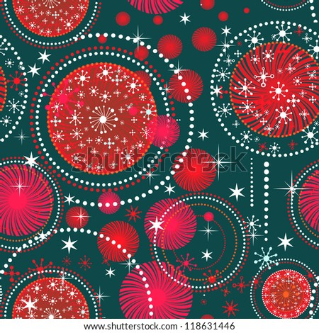 Vector Christmas pattern with holidays  snow flakes and stars - stock vector