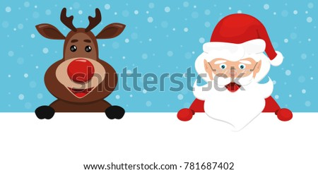 vector Christmas raindeer Rudolph  with red nose  and Santa Claus in red hat smiling . cute design for card, logo, banner, label, tag, design, xmas on blue background with snow