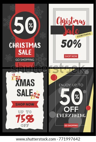 vector christmas sale discount leaflets