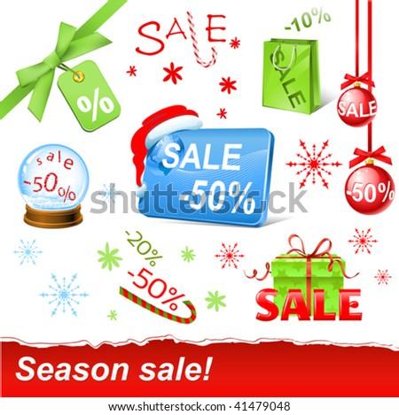 vector christmas sale set - stock vector